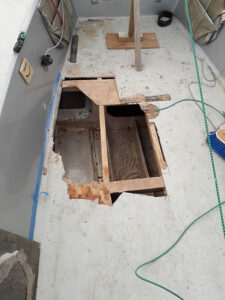 Initial state of cockpit deck - rotten plywood