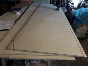 Cutting of new plywood for cockpit deck