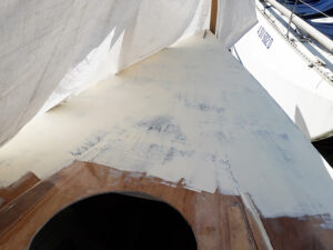 Bow deck preparation for epoxy primer application