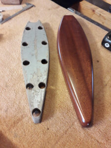 Keel bolts covers - Old (left) and new (right) made of solid mahogany